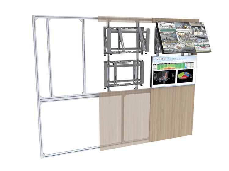 Habillage et finitions pour mur d'écrans